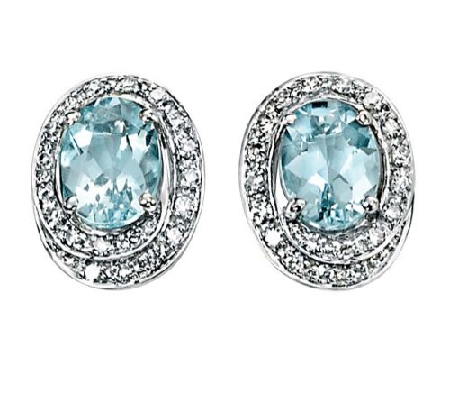 Aquamarine And Diamond 9 Carat White Gold Cluster Earrings